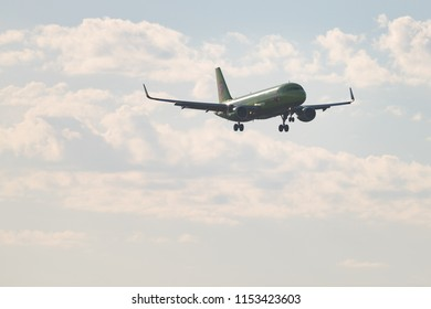 Novosibirsk, Russia – June 7, 2018: Airbus A320-214 VP-BOL S7 Airlines approaches for landing at the international airport Tolmachevo.