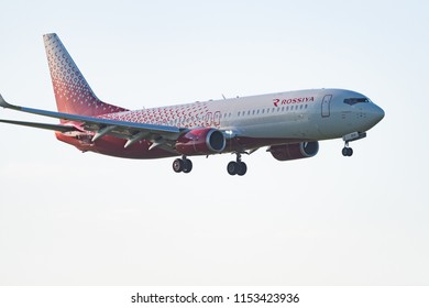 Novosibirsk, Russia – June 7, 2018: Boeing 737-8LJ VP-BOA Rossiya Airlines approaches for landing at the international airport Tolmachevo.