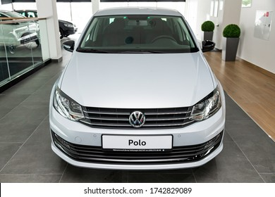 Novosibirsk/ Russia – March  03, 2020 white Volkswagen Polo  front view.  Modern  sedan made in Russia on a parking in Novosibirsk