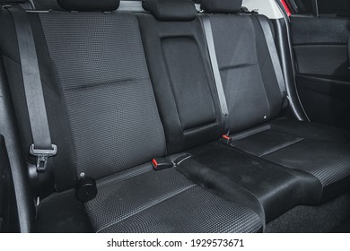 Novosibirsk, Russia – March 03 2021: Mazda 3, Rear seat for passengers in black textile. Comfort car inside.