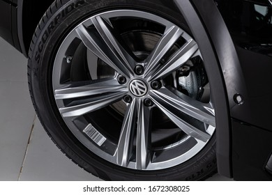 Novosibirsk, Russia – March 09, 2020:  Volkswagen Tiguan, close-up car wheel with aluminum alloy wheel and new tires