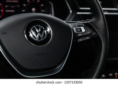 Novosibirsk, Russia - March 11, 2019:  Volkswagen Tiguan, close-up of the Multiwheel with setting buttons. Photography of a modern car on a parking in Novosibirsk