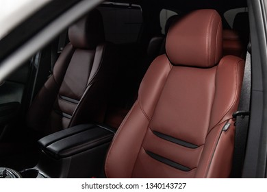 Novosibirsk, Russia - March 15, 2019:  Mazda CX-9,close-up of the leather front seats. Photography of a modern car on a parking in Novosibirsk