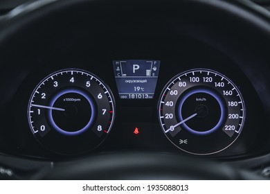 Novosibirsk, Russia – March 2 2021: Hyundai Solaris, Car panel, digital bright speedometer, odometer and other tools