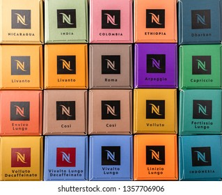 Novosibirsk, Russia - March 2019. A set of different Nespresso flavors. Close-up