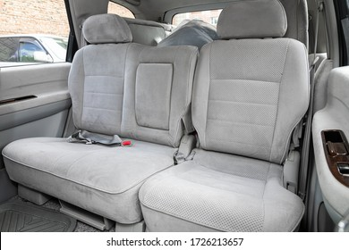 Novosibirsk/ Russia – May 02 2020: Nissan Presage, Rear seat for passengers in  gray  textile. Comfort car inside.