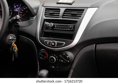 Novosibirsk/ Russia – May 02 2020: Hyundai Solaris, close-up of the central control panel, monitor with music and radio , adjustment of the blower, air conditioner, player