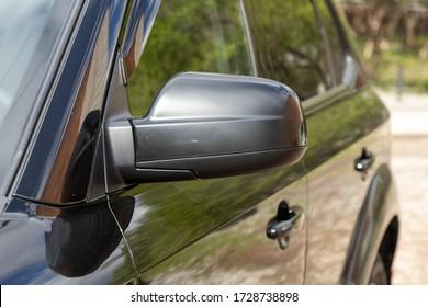 Novosibirsk/ Russia – May 02 2020: Hyundai Tucson, Side mirror of a car close-up. Exterior detail
