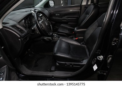 Novosibirsk, Russia - May 10, 2019:  Mitsubishi ASX,close-up of the dashboard, speedometer, tachometer, seats and steering wheel.Photography of a modern car on a parking in Novosibirsk