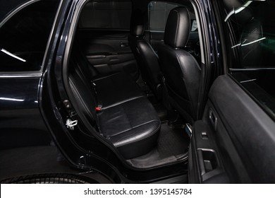 Novosibirsk, Russia - May 10, 2019:  Mitsubishi ASX,close-up of the rear seats. Photography of a modern car on a parking in Novosibirsk