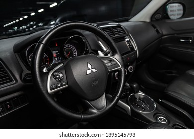 Novosibirsk, Russia - May 10, 2019:  Mitsubishi ASX,close-up of the dashboard, speedometer, tachometer and steering wheel.Photography of a modern car on a parking in Novosibirsk