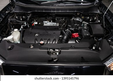 Novosibirsk, Russia - May 10, 2019:  Mitsubishi ASX,close-up of the engine, front view. Photography of a modern car on a parking in Novosibirsk