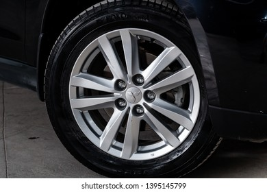 Novosibirsk, Russia - May 10, 2019:  Mitsubishi ASX,close-up of the wheel. Photography of a modern car on a parking in Novosibirsk