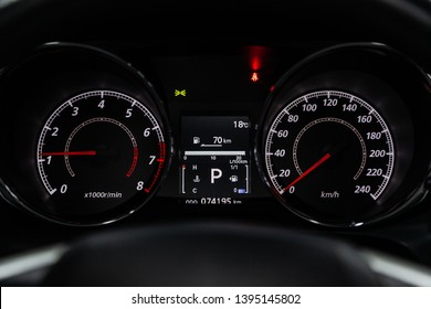 Novosibirsk, Russia - May 10, 2019:  Mitsubishi ASX,close-up of the dashboard, speedometer and tachometer. Photography of a modern car on a parking in Novosibirsk