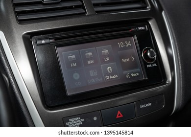Novosibirsk, Russia - May 10, 2019:  Mitsubishi ASX,close-up of the dashboard, navigator, player. Photography of a modern car on a parking in Novosibirsk