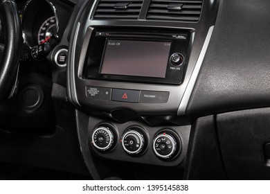 Novosibirsk, Russia - May 10, 2019:  Mitsubishi ASX,close-up of the dashboard, adjustment of the blower, air conditioner, player. Photography of a modern car on a parking in Novosibirsk