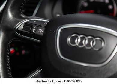 Novosibirsk, Russia - May 10, 2019:  Audi Q3,close-up of the Multiwheel with setting buttons. Photography of a modern car on a parking in Novosibirsk