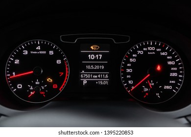 Novosibirsk, Russia - May 10, 2019:  Audi Q3,close-up of the dashboard, speedometer and tachometer. Photography of a modern car on a parking in Novosibirsk