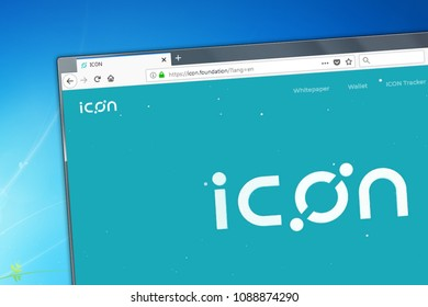 Novosibirsk, Russia - May 12, 2018 - Homepage of Icon cryptocurrency on PC, web adress - icon.foundation.