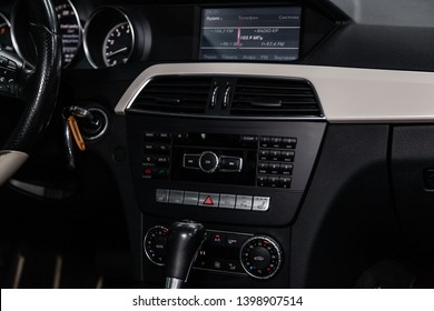 Novosibirsk, Russia - May 15, 2019:  Mercedes C-Class С180,close-up of the dashboard, adjustment of the blower, air conditioner, player. Photography of a modern car on a parking in Novosibirsk