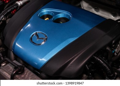 Novosibirsk, Russia - May 15, 2019:  Mazda CX-5,close-up of the engine, front view. Photography of a modern car on a parking in Novosibirsk