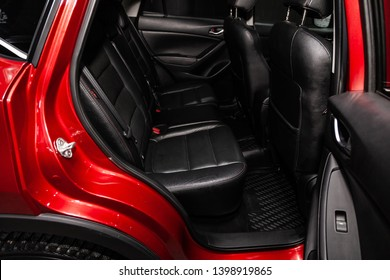 Novosibirsk, Russia - May 15, 2019:  Mazda CX-5,close-up of the rear seats. Photography of a modern car on a parking in Novosibirsk