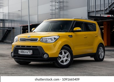 Novosibirsk, Russia - May 16, 2018: Kia Soul, side view. Photography of a modern yellow car on a street in Novosibirsk