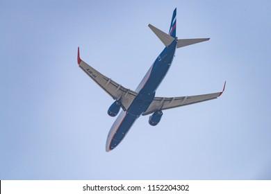 Novosibirsk, Russia - May 2, 2018: Boeing 737-8LJ VP-BFB Aeroflot approaches for landing at the international airport Tolmachevo.