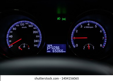 Novosibirsk, Russia - May 20, 2019:  Hyundai Genesis,close-up of the dashboard, speedometer and tachometer. Photography of a modern car on a parking in Novosibirsk