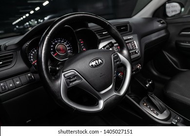 Novosibirsk, Russia - May 20, 2019:  Kia Rio, close-up of the dashboard, speedometer, tachometer and steering wheel.Photography of a modern car on a parking in Novosibirsk