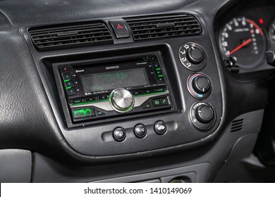 Novosibirsk, Russia - May 28, 2019:  Honda Civic, close-up of the dashboard, adjustment of the blower, air conditioner, player. Photography of a modern car on a parking in Novosibirsk