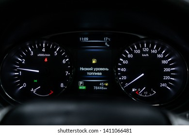 Novosibirsk, Russia - May 28, 2019:  Nissan X-trail, close-up of the dashboard, speedometer and tachometer. Photography of a modern car on a parking in Novosibirsk