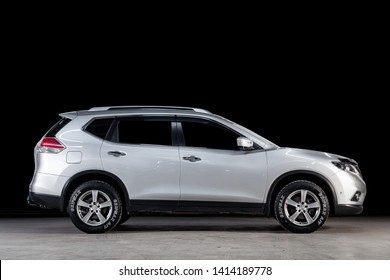 Novosibirsk, Russia - May 28, 2019: Nissan Xtrail, side view. Photography of a modern car on a parking in Novosibirsk