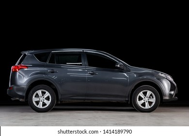 Novosibirsk, Russia - May 28, 2019: Toyota RAV-4, side view. Photography of a modern car on a parking in Novosibirsk