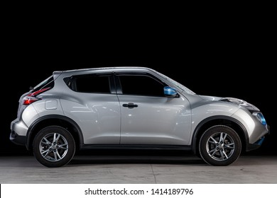 Novosibirsk, Russia - May 28, 2019: Nissan Juke, side view. Photography of a modern car on a parking in Novosibirsk