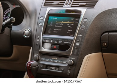 Novosibirsk, Russia - May 28, 2019:  Lexus  GS300, close-up of the dashboard, adjustment of the blower, air conditioner, player. Photography of a modern interior car.