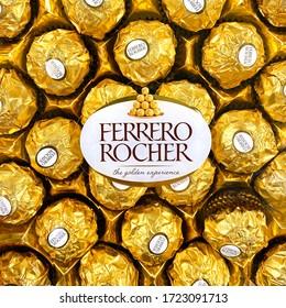 NOVOSIBIRSK, RUSSIA - MAY 5, 2020: packaging of Ferrero Rocher premium chocolate. Ferrero Rocher is a spherical chocolate made by the Italian Ferrero SpA chocolatier.
