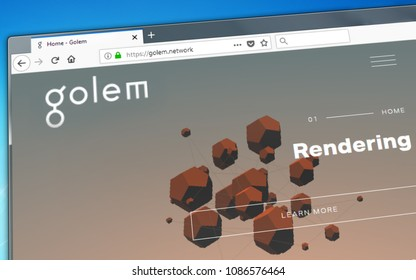 Novosibirsk, Russia - May 8, 2018 - Homepage of Golem crypto currency on the PC display, web address - golem.network