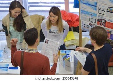 NOVOSIBIRSK, RUSSIA - NOVEMBER 14, 2014: Students of Novosibirsk state university getting information about jobs. The job fair was organized by the NSU Center of graduates
