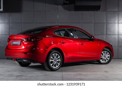Novosibirsk, Russia - November 16, 2018: Mazda 3, back view. Photography of a modern car on a parking in Novosibirsk