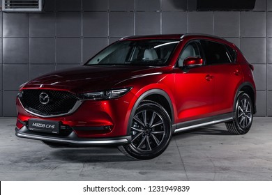 Novosibirsk, Russia - November 16, 2018: Mazda CX5, front view. Photography of a modern car on a parking in Novosibirsk