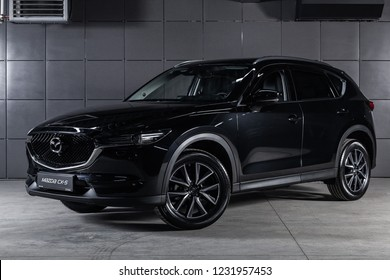 Novosibirsk, Russia - November 16, 2018: black Mazda CX5, front view. Photography of a modern car on a parking in Novosibirsk