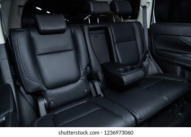 Novosibirsk, Russia - November 20, 2018:  Mitsubishi Outlander, close-up of the rear seats. Photography of a modern car on a parking in Novosibirsk