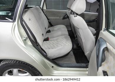 Novosibirsk, Russia – November 26, 2020: Lada Kalina, Comfort car inside. Clean car interior:  back seats, headrests and belts