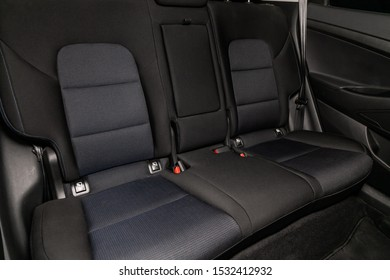 Novosibirsk, Russia – October  04, 2019:  Hyundai Tucson, interior design, car passenger and driver seats with seats belt.