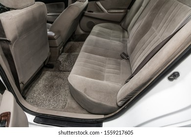 Novosibirsk, Russia – October 10, 2019:  Toyota Camry,  gray interior design, car passenger and driver seats with seats belt.