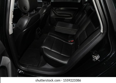 Novosibirsk, Russia – October 10, 2019:  Audi A6, Leather interior design, car passenger and driver seats with seats belt.