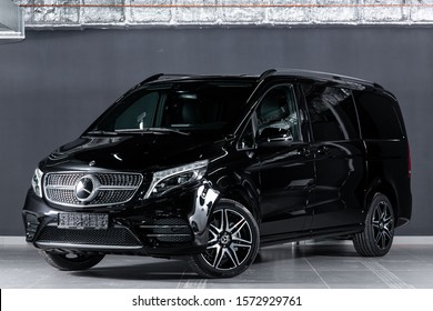 Novosibirsk, Russia – October 10, 2019:  new black Mercedes-Benz V-Class, front view.  Photography of a luxury minivan on a parking in Novosibirsk