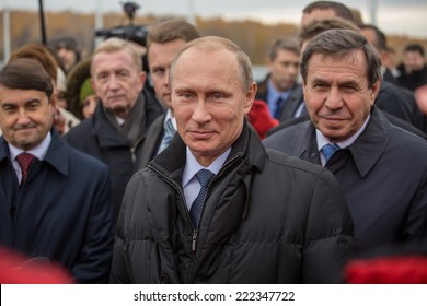 Novosibirsk, Russia - October 8, 2014: Vladimir Vladimirovich Putin (Russian President) at the opening of the third bridge in the city of Novosibirsk