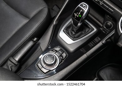 Novosibirsk, Russia – September 11, 2019:  BMW X1 , close-up of the accelerator handle and buttons. automatic transmission gear of car , car interior